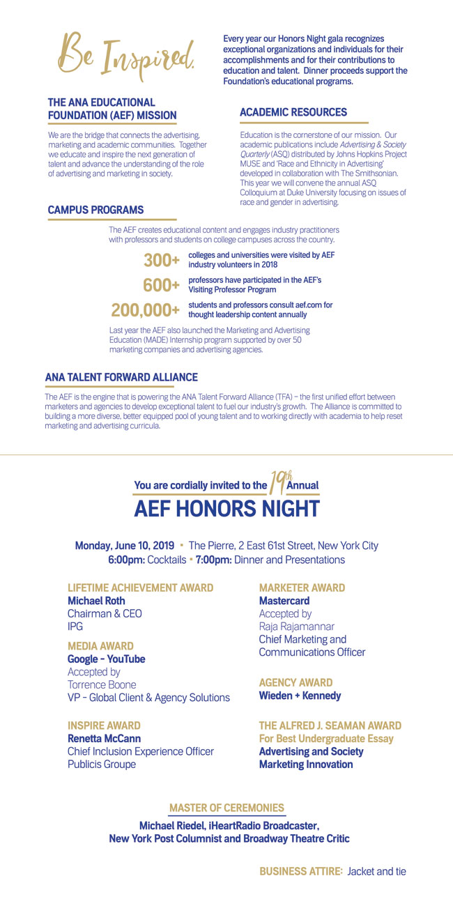 Honors Night 2019 invitation